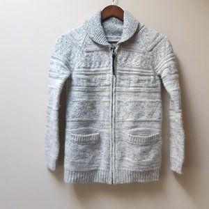 Aritzia TNA Lambswool grey zip cardigan sweater